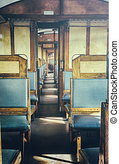 Last century rail car interior. Passenger carriage