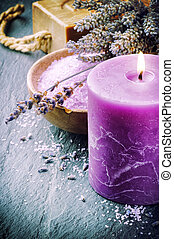 Wellness concept with lavender and scented candle - Candle,...