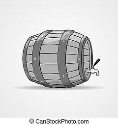 Old wooden barrel filled with natural wine or beer. Keg. -...
