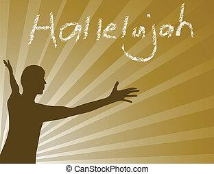 Hallelujah Jesus - Man praising the lord. vector...