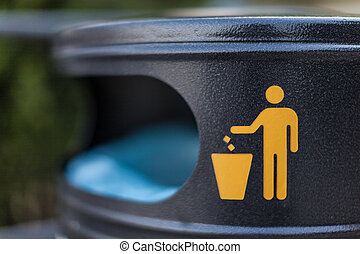 Trash - a symbol on a city trash bin in a croatian city