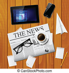 Cup of coffee, newspaper, tablet, s