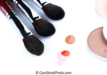 Close-up of brushes for applying blush