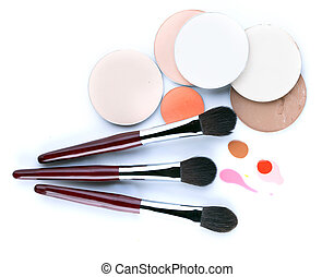Set of professional brushes for applying blush
