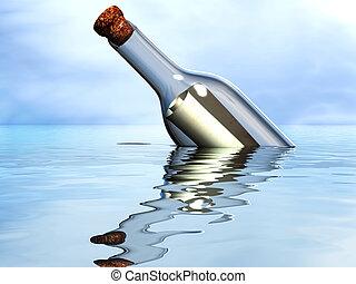Castaway message - Message in a bottle in the open ocean.