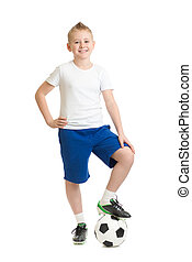 Boy standing with soccer ball isolated on white