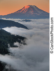 Mountain peak at sunset - Mt Adams in Washington State, at...
