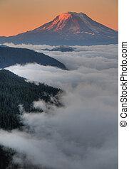 Mountain peak at sunset - Mt. Adams in Washington State, at...
