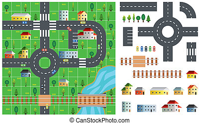 City map toolkit vector illustration - City map toolkit with...