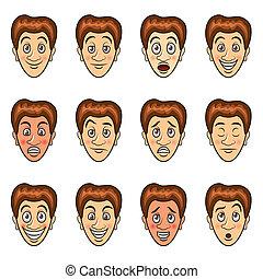 Man's emotions cartoon vector set - Man's emotions and...