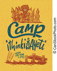 Camp Yeti - Woodcut-style sign with a big foot illustration.
