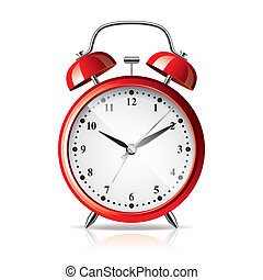 Red alarm clock isolated on white vector - Red alarm clock...