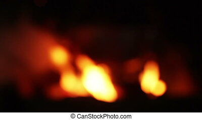 Rasfokus on boiler burning coals - At night boiler over...
