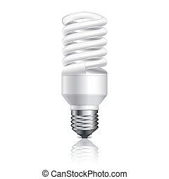 Energy saving lamp isolated on white vector - Energy saving...