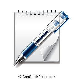 Notepad and gel pen icon vector illustration