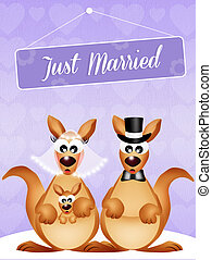 Wedding of kangaroos - illustration of Wedding of kangaroos