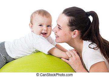 mère, bébé, avoir, amusement,...