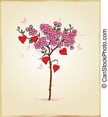 Tree with flowers and hearts