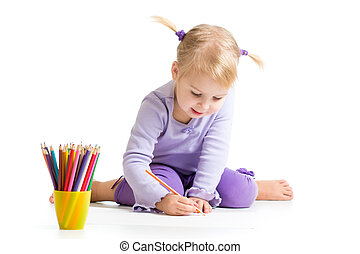 kid drawing with color pencils