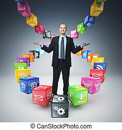smart cubes - business man on abstract icons cubes