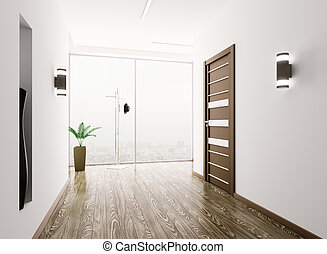 Hall interior - Interior of modern entrance hall 3d render