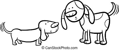 dogs wagging tails coloring page - Black and White Cartoon...