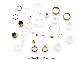 binocular parts - disassembled binocular parts on white