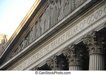 Corinthian columns on a government building in New York City