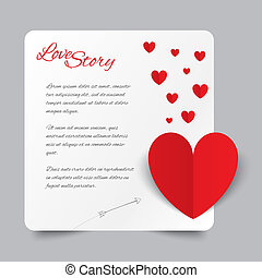 Red paper heart Valentines day card. Love story.