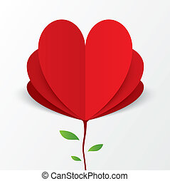 Paper heart Valentines day card Flower concept - Red paper...