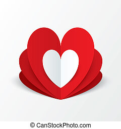 Paper heart Valentines day card. Flower concept. - Red paper...