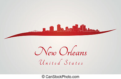 New Orleans skyline in red and gray background in editable...