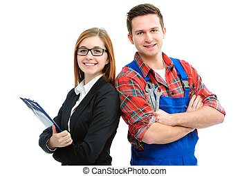 Apprentices for handyman and office isolated on white...