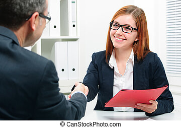 handshake while job interviewing
