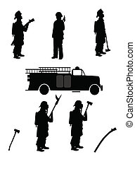 firemen silhouettes - firemen in outfits with retro...