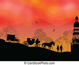 Carriage, car and lovers at sunset