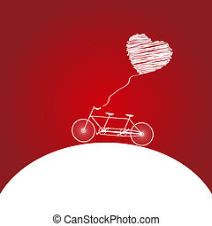 Romantic bicycle heart background - Romantic bicycle heart...