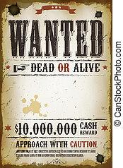 Wanted Vintage Western Poster - Illustration of a vintage...