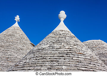 Rooftop of trulli - Ancient residential structures known as...
