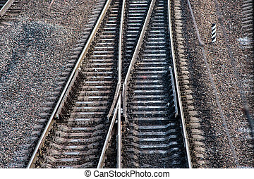 Railway tracks - Close up of railway tracks with crossing