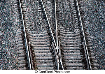 Railroad tracks - Close up of railway tracks with crossing
