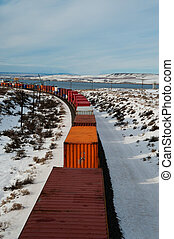 Freight train in winter - Freight train in a snowy winter...