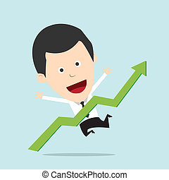 Cartoon Businessman positive graph