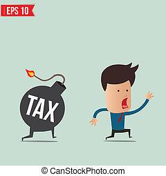 Businessman run away from tax bomb