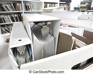 Box of Binders and Files - Box of binders and files stored...