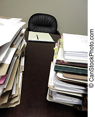 Desk with Piles of Files