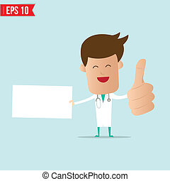 Doctor with blank board