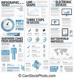 Big set of infographic elements blue business colors vector...