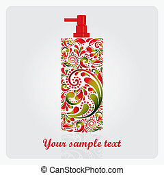 Bottle of lotion, made of the leaf pattern.