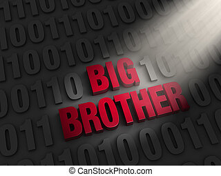Big Brother in the Computer Code - A spotlight illuminates...